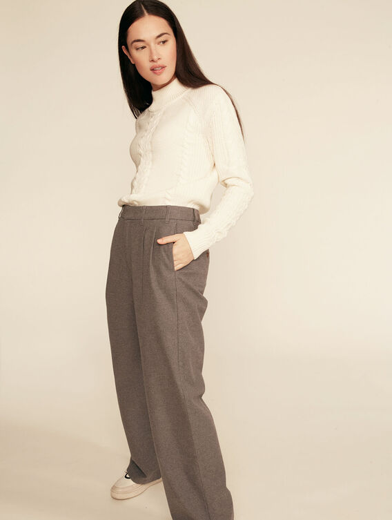 Wide-leg wool-effect trousers
