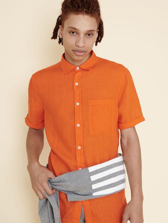 Kurzärmeliges, leichtes Leinenhemd