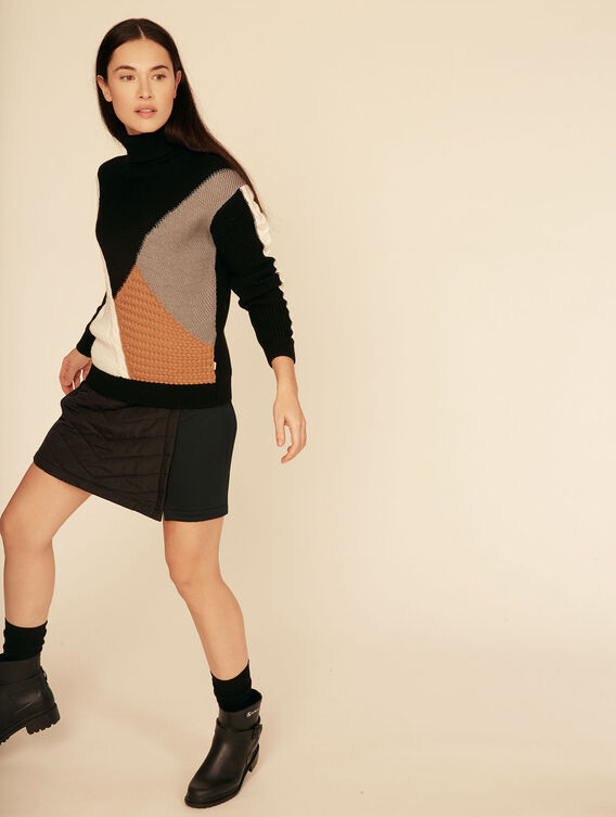 Patchwork Merino wool roll-neck jumper