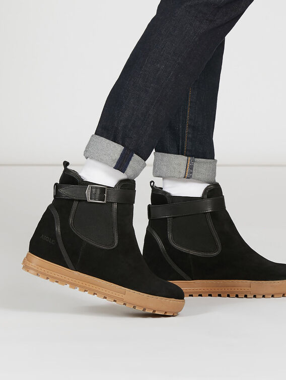 Women's fur-lined heeled Chelsea boot
