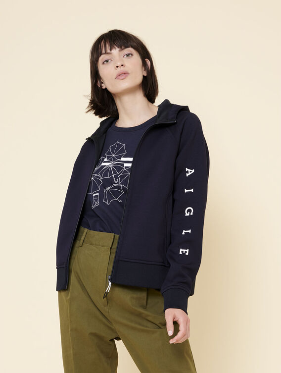 Zipped fleece sweatshirt