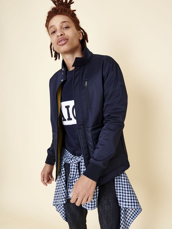 Mixed-fabric technical jacket