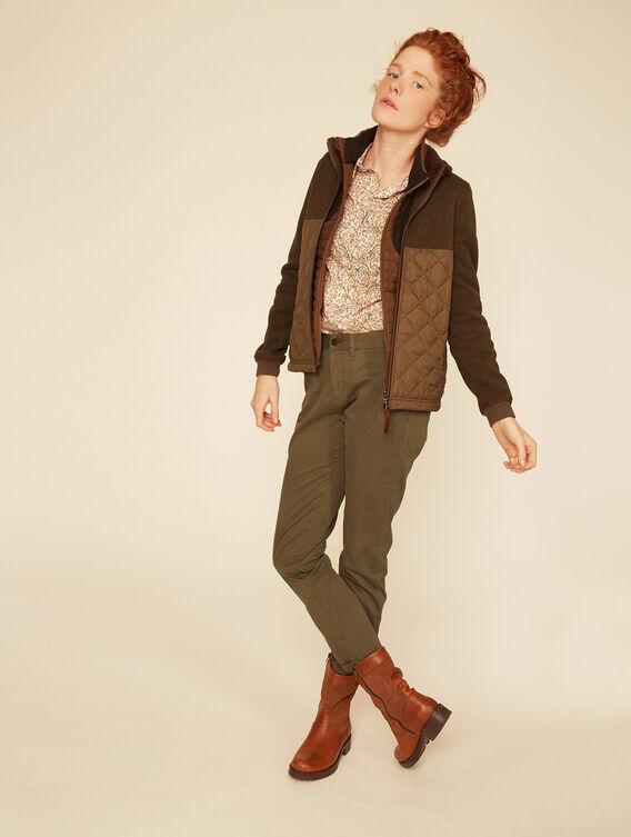 Mixed fabric fleece jacket