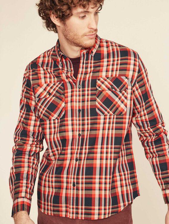 Chemise à carreaux coupe droite