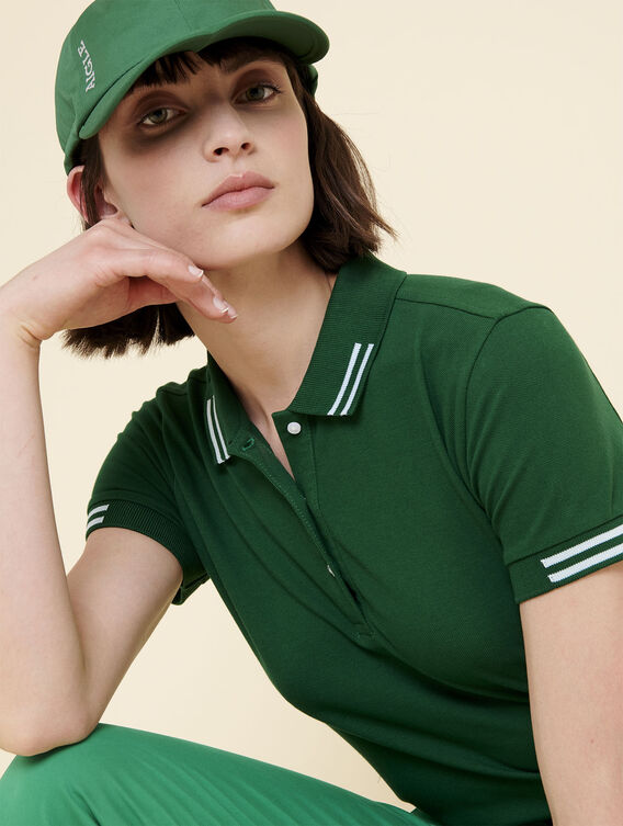 Polo uni féminin en coton