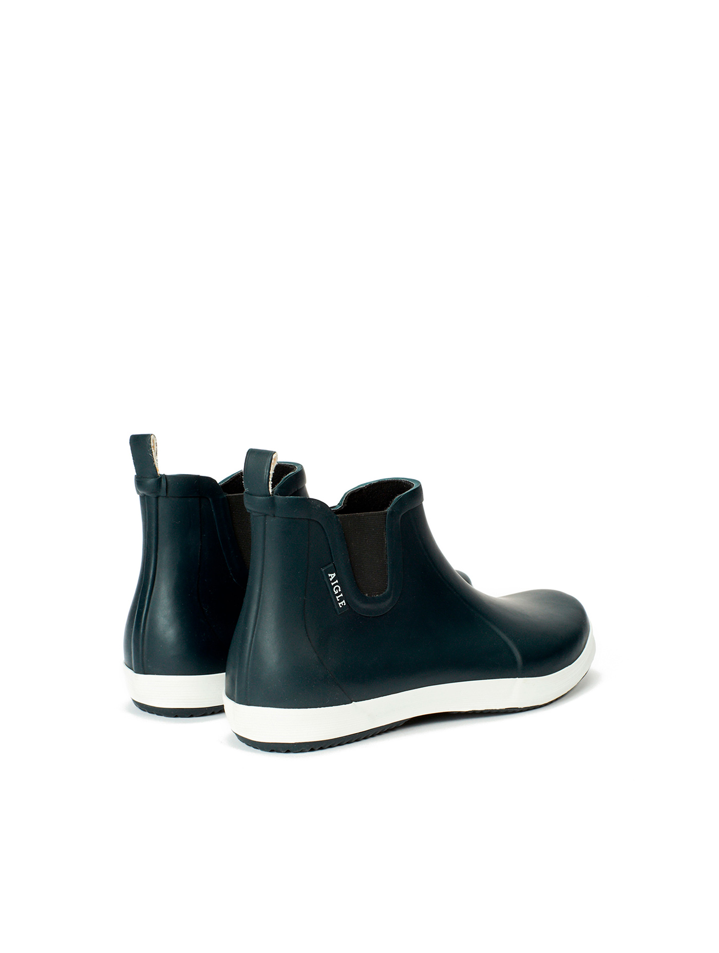 be2c7166405 MALOUIN CHELSEA | Men's rubber ankle boots Marine/blanc | Aiglemen ...