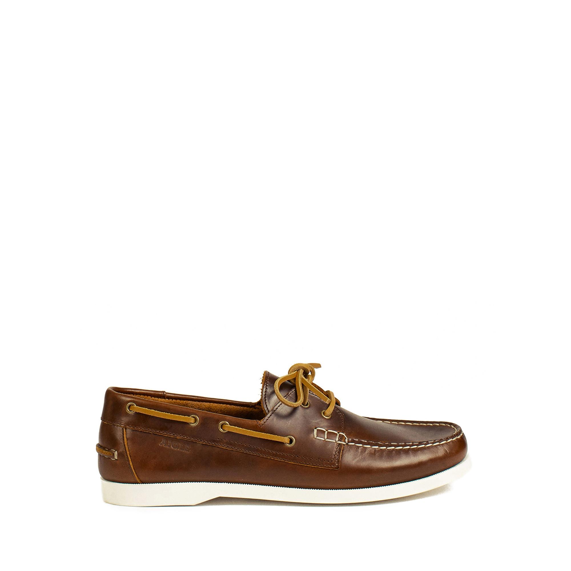 55fdb1de511d39 HAVSEA | Chaussures bateau cuir homme Brown/miel | Aiglehomme | AIGLE